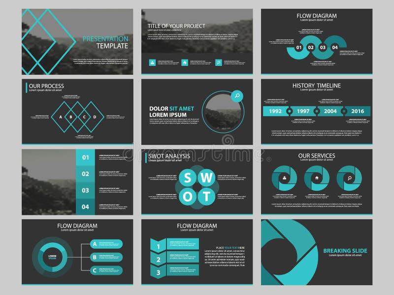 Sistema infographic de la plantilla de los elementos de la presentación del negocio, diseño horizontal corporativo del folleto de stock de ilustración