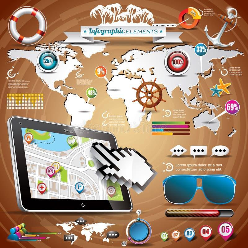 Sistema infographic del viaje del verano del vector con los elementos del mapa del mundo y de las vacaciones. ilustración del vector
