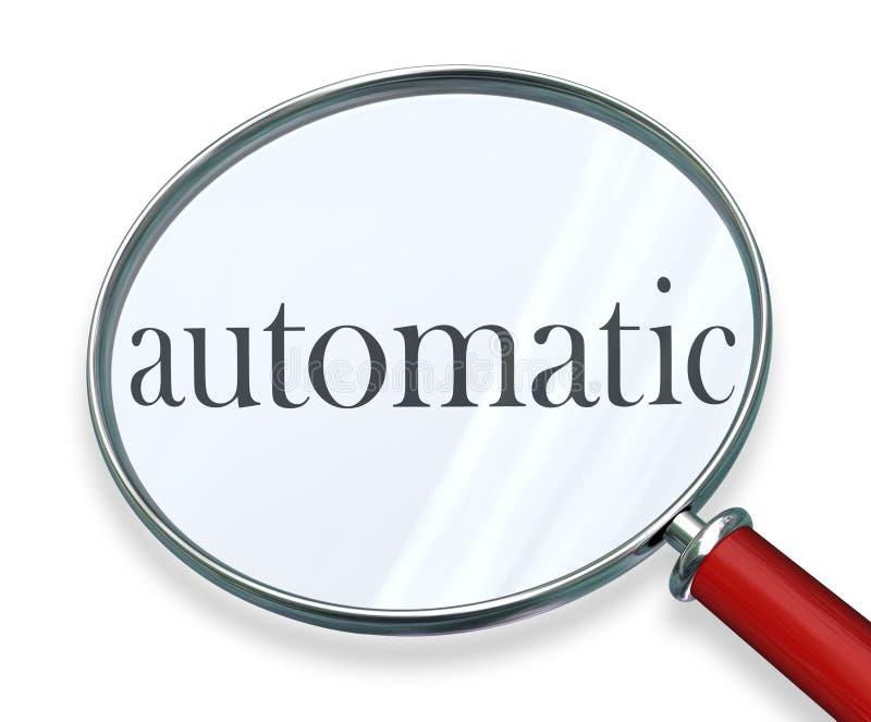 Sistema informático automático del programa de la lupa de la palabra ilustración del vector