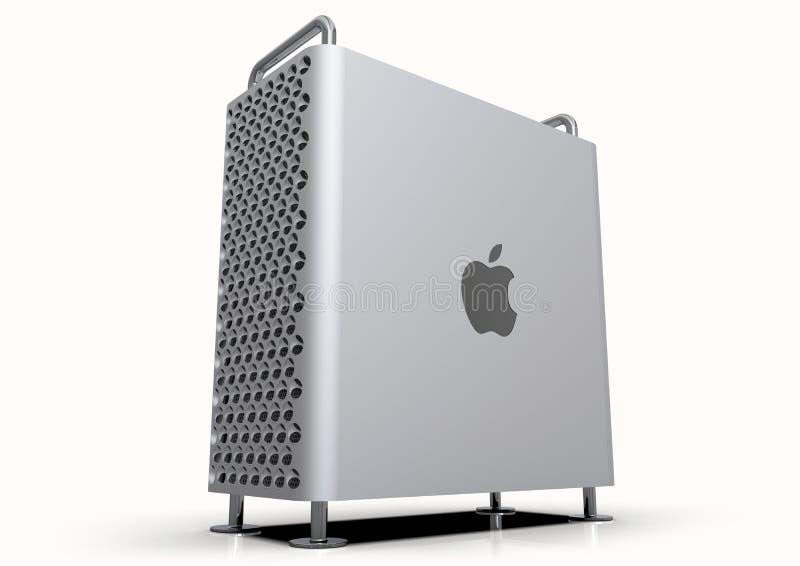 Sistema informático 2019, perspectiva de computador de secretária de Apple Mac Pro fotografia de stock royalty free