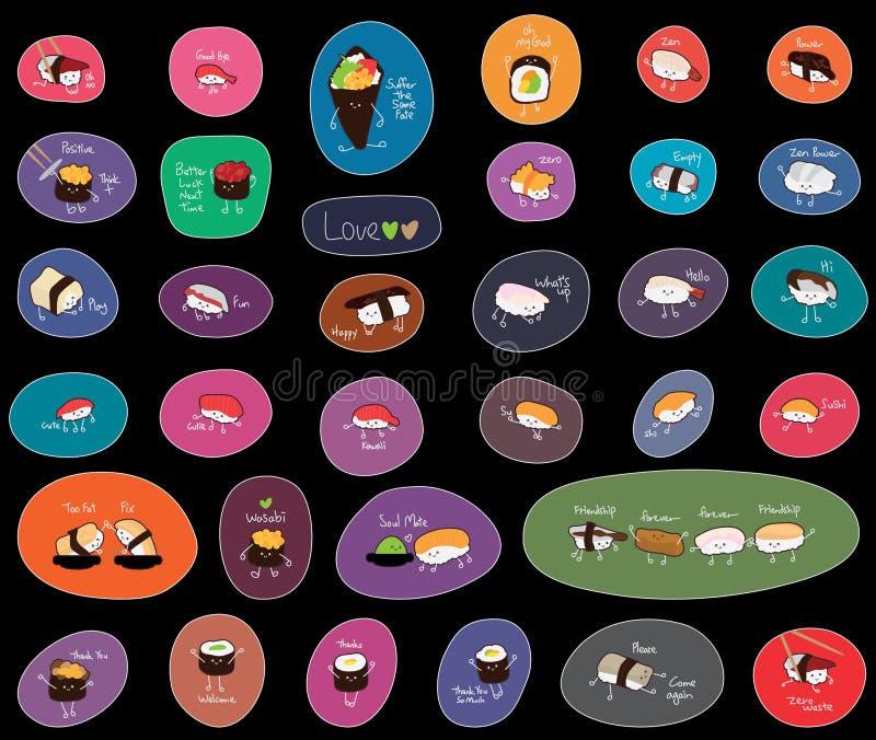 Sistema inglés de la etiqueta engomada de la historieta del sushi ilustración del vector