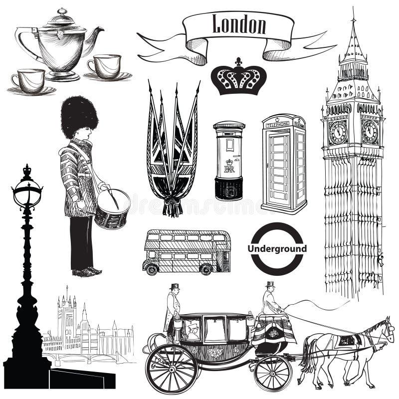 Sistema inglés del icono Símbolos de Londres, Inglaterra, Reino Unido, Europa Drenaje de la mano ilustración del vector