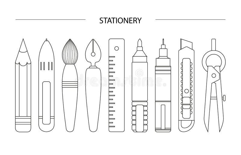Sistema inmóvil blanco en el fondo blanco stock de ilustración