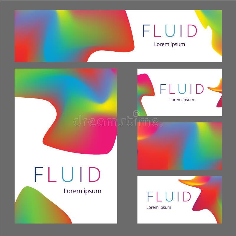 Sistema inmóvil de la maqueta del vector de objetos realistas de la oficina con la identidad de marca abstracta del diseño Artícu stock de ilustración