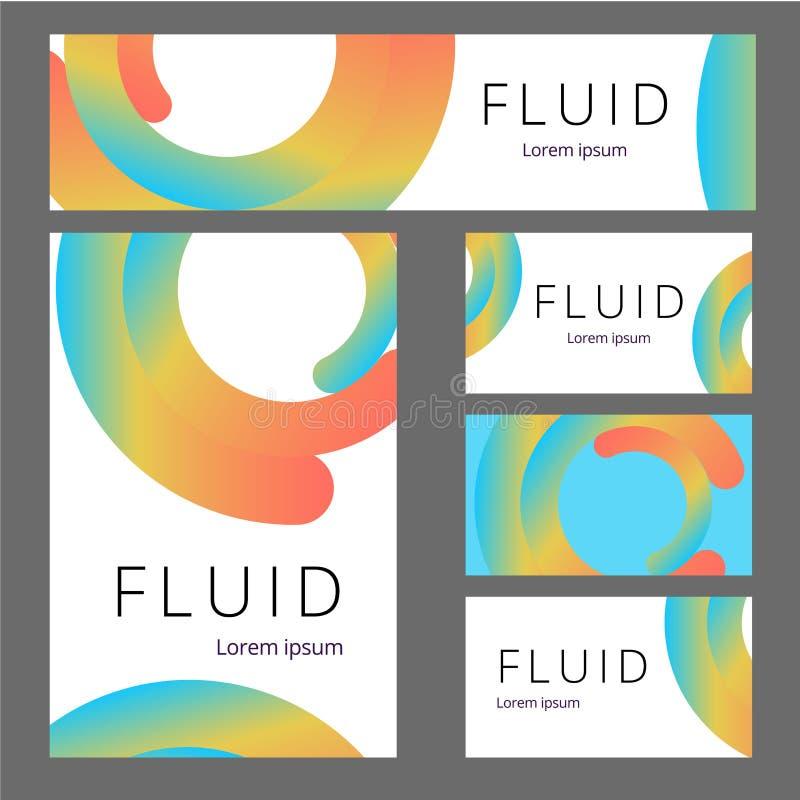 Sistema inmóvil de la maqueta del vector de objetos realistas de la oficina con la identidad de marca abstracta del diseño Artícu libre illustration