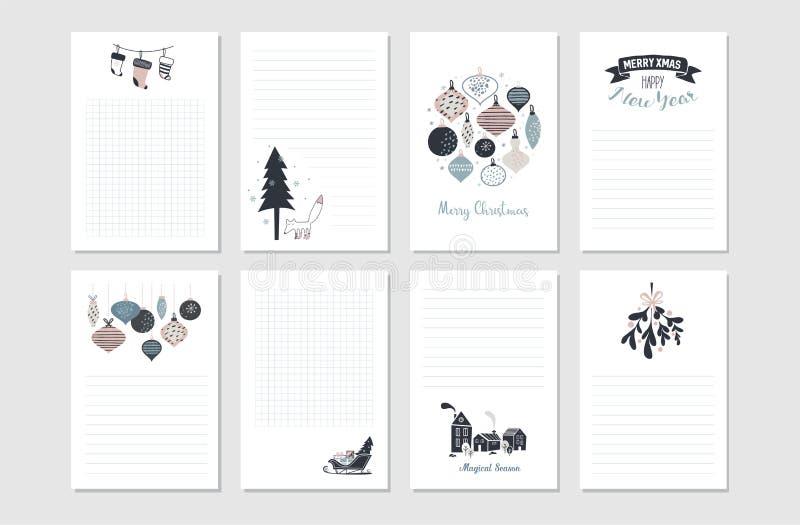 Sistema inmóvil del Año Nuevo del inconformista y de la Feliz Navidad Tarjetas, etiquetas engomadas y banderas imprimibles del ve libre illustration