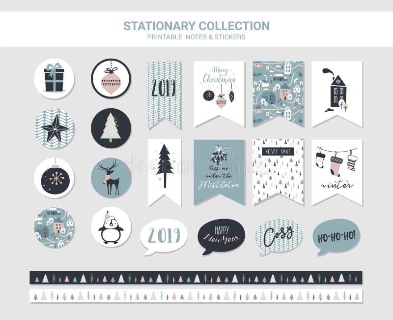 Sistema inmóvil del Año Nuevo del inconformista y de la Feliz Navidad Tarjetas, etiquetas engomadas y banderas imprimibles del ve ilustración del vector