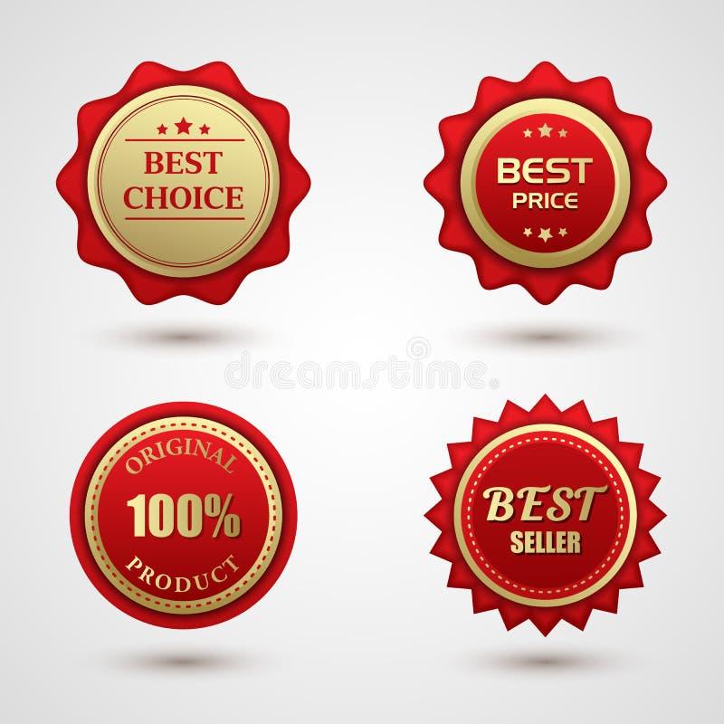 Sistema insignia bien escogida roja del oro de la mejor libre illustration