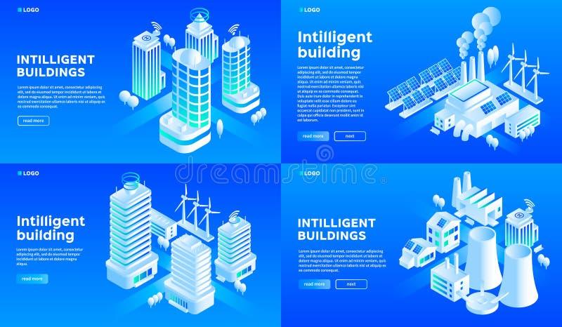 Sistema inteligente de la bandera del edificio, estilo isométrico stock de ilustración