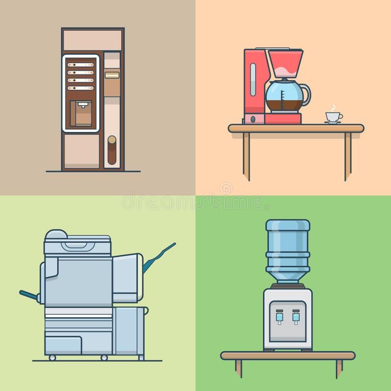 Sistema interior interior del sitio técnico de la cocina de la oficina ilustración del vector