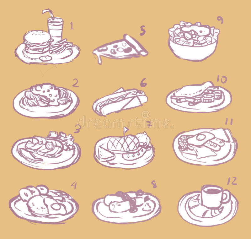Sistema internacional del icono del bosquejo de la comida de la trama ilustración del vector