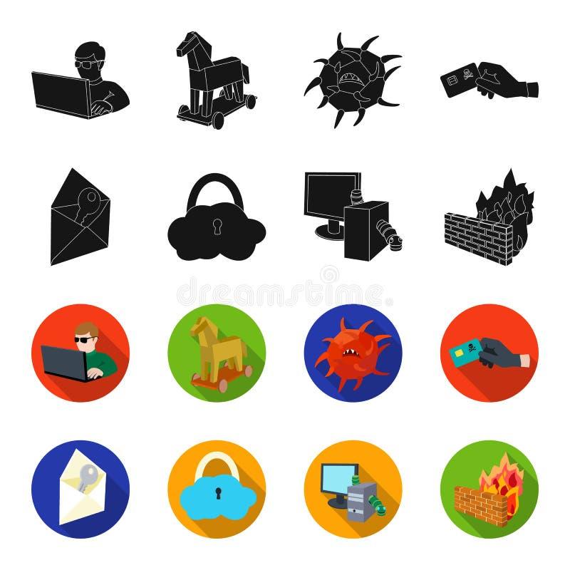 Sistema, Internet, conexión, código Piratas informáticos y cortar los iconos determinados en negro, acción de la colección del sí stock de ilustración