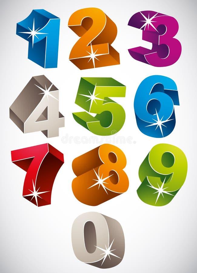 sistema intrépido colorido del vector de los números 3D libre illustration