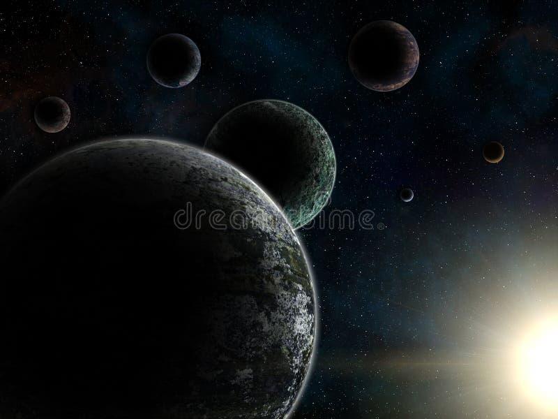 Sistema irreale dei exoplanets Trappist-1 royalty illustrazione gratis