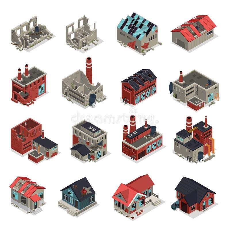 Sistema isométrico abandonado de los edificios stock de ilustración