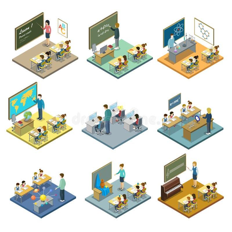 Sistema isométrico 3D de la educación escolar stock de ilustración