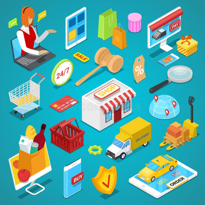 Sistema isométrico 3D de las compras en línea libre illustration