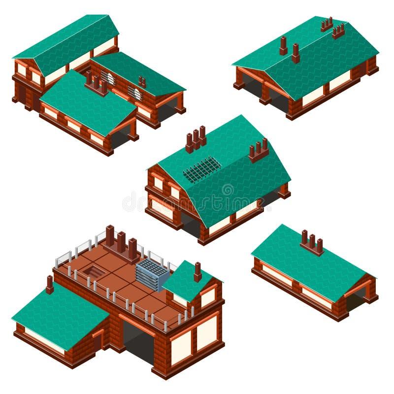 Sistema isométrico de fábricas, plan de la disposición de la instalación de producción stock de ilustración