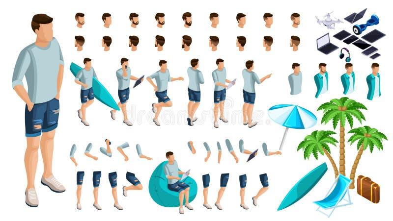 Sistema isométrico de gestos de manos y de pies de un adolescente del varón 3d, individuo del resto en ropa del verano Cree su ca stock de ilustración