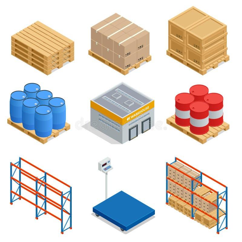 Sistema isométrico de iconos isométricos del equipo del almacenamiento Iconos del vector del envío con las cajas, el envase y los stock de ilustración