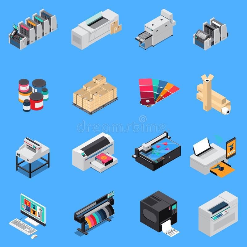 Sistema isométrico de la casa de impresión stock de ilustración