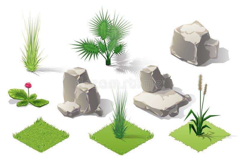 Sistema isométrico de la colección del bosque de las plantas Árboles y piedras de la caída ilustración del vector