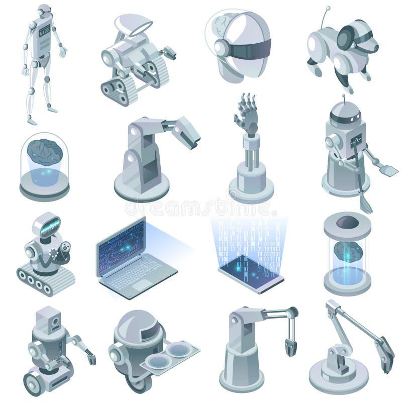 Sistema isométrico de la inteligencia artificial stock de ilustración
