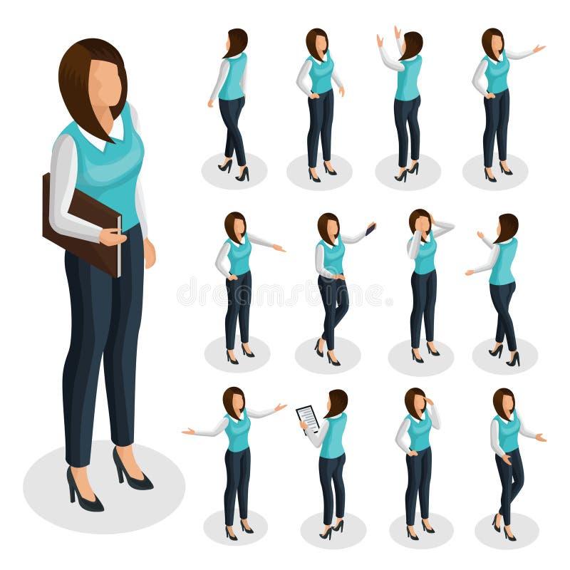 Sistema isométrico de la mujer de negocios stock de ilustración