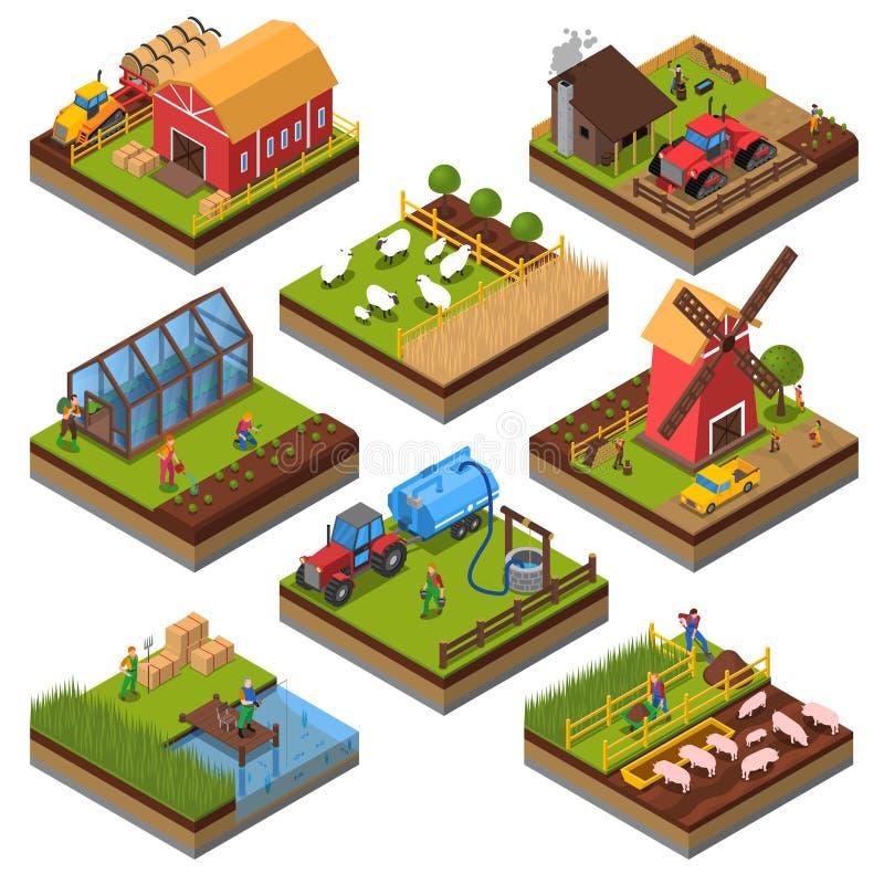 Sistema isométrico de las composiciones agrícolas ilustración del vector