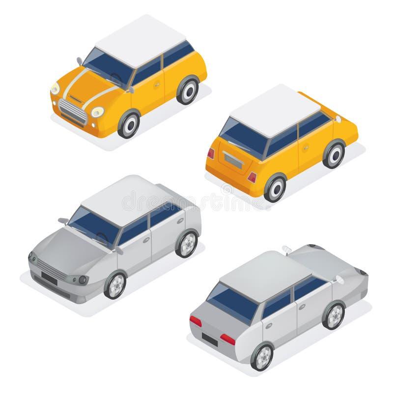Sistema isométrico de los coches de la ciudad con el automóvil de Mini Car y del sedán stock de ilustración