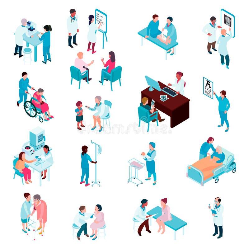 Sistema isométrico de los doctores y de las enfermeras ilustración del vector