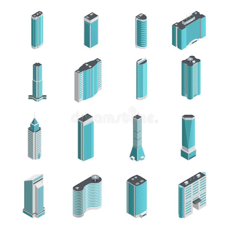 Sistema isométrico de los edificios modernos stock de ilustración
