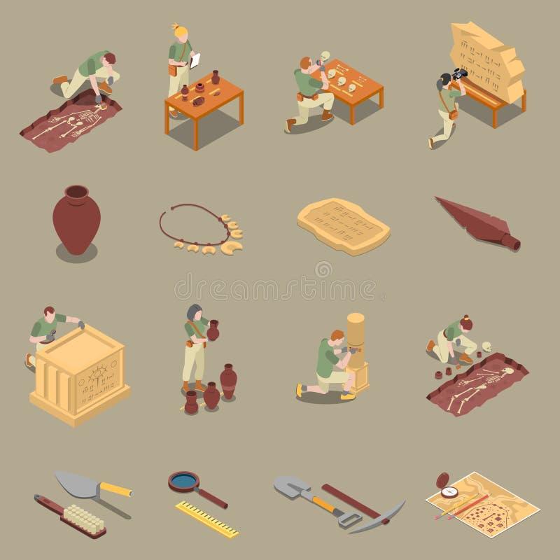 Sistema isométrico de los iconos de la arqueología stock de ilustración