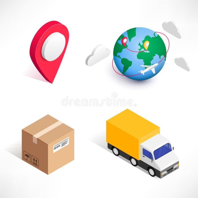 Sistema isométrico de los iconos de la entrega que hace compras stock de ilustración