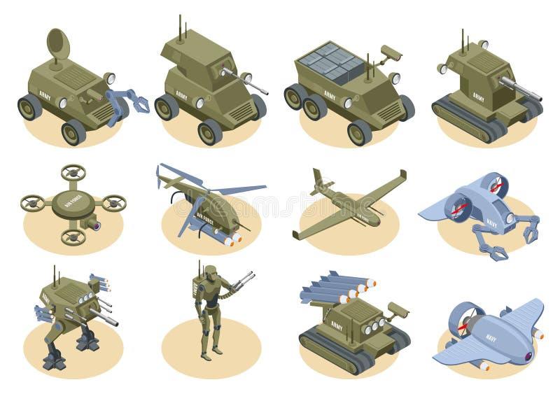 Sistema isométrico de los iconos de los robots militares stock de ilustración