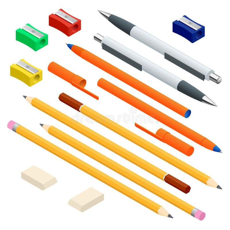 Sistema isométrico de plumas coloreadas de la ingeniería y de la oficina, lápices afilados de diversas longitudes con caucho y fu ilustración del vector