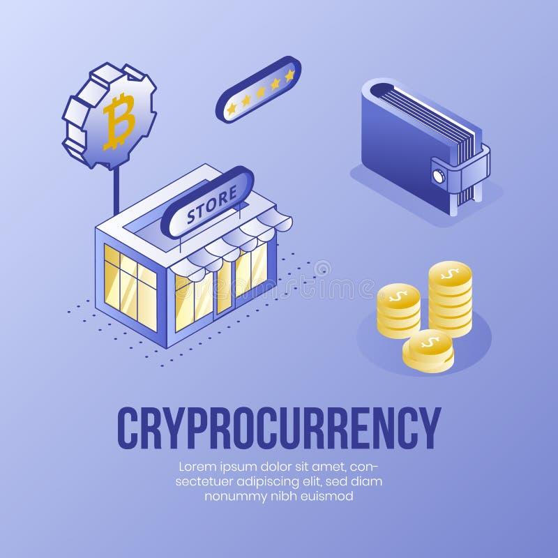 Sistema isométrico del concepto de diseño de Digitaces de iconos financieros del app 3d del cryptocurrency Símbolo-tienda financi stock de ilustración