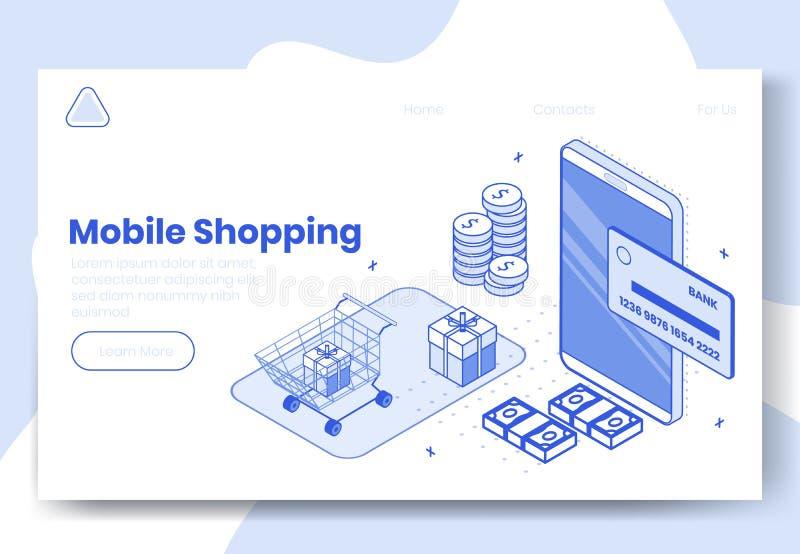 Sistema isométrico del concepto de diseño de Digitaces de iconos móviles del app que hacen compras 3d r stock de ilustración