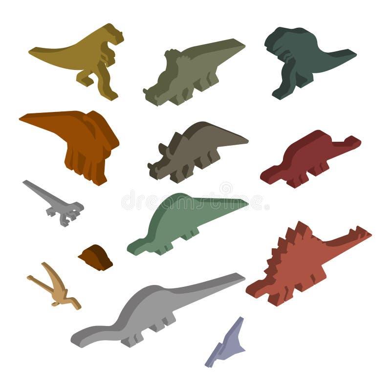 Sistema isométrico del dinosaurio Animal antiguo Diplodocus y Stegosaur ilustración del vector