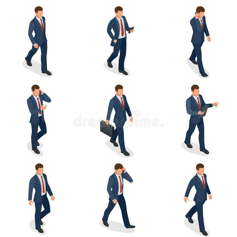 Sistema isométrico del diseño de carácter del hombre de negocios y de la empresaria Hombre de negocios isométrico de la gente en  stock de ilustración