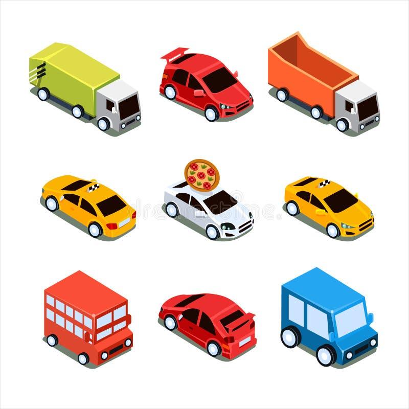 Sistema isométrico del ejemplo del vector del transporte de la ciudad libre illustration