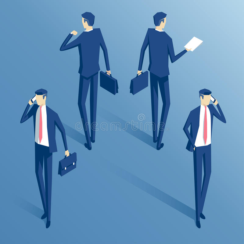 Sistema isométrico del hombre de negocios stock de ilustración