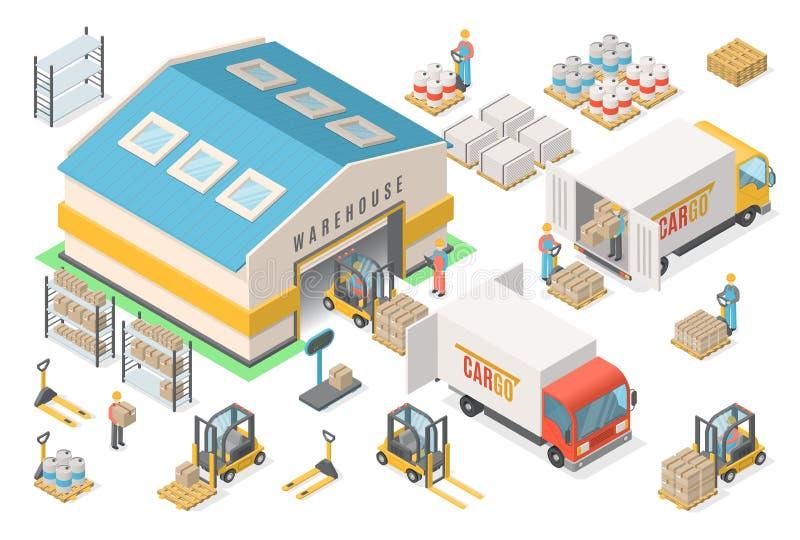 Sistema isométrico del icono del almacén, esquema, concepto logístico stock de ilustración