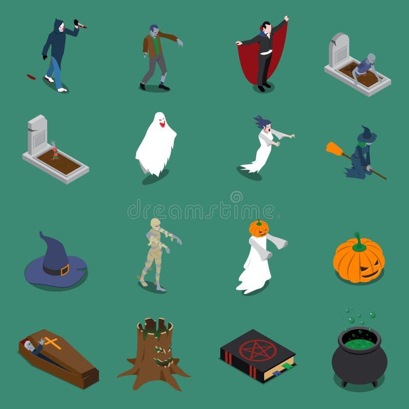 Sistema isométrico del icono de Halloween del monstruo stock de ilustración