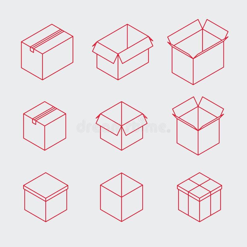 Sistema isométrico del icono de la caja del esquema stock de ilustración
