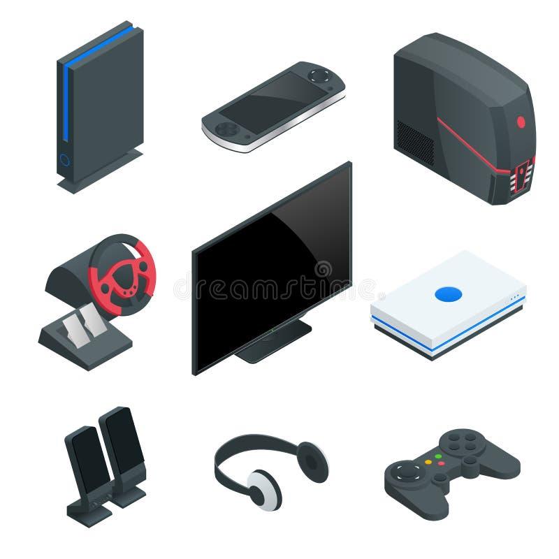 Sistema isométrico del icono de la consola del videojuego Sistema simple de iconos del vector de la videoconsola para el diseño w stock de ilustración