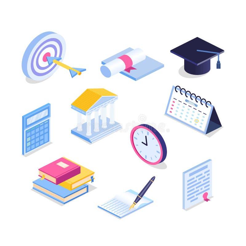 Sistema isométrico del icono de la educación ejemplo del vector de la graduación 3d Libro, calendario, cuaderno, casquillo de la  stock de ilustración