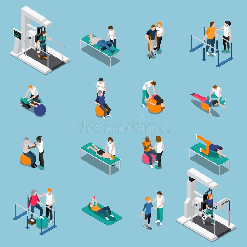 Sistema isométrico del icono de la gente de la rehabilitación de la fisioterapia stock de ilustración