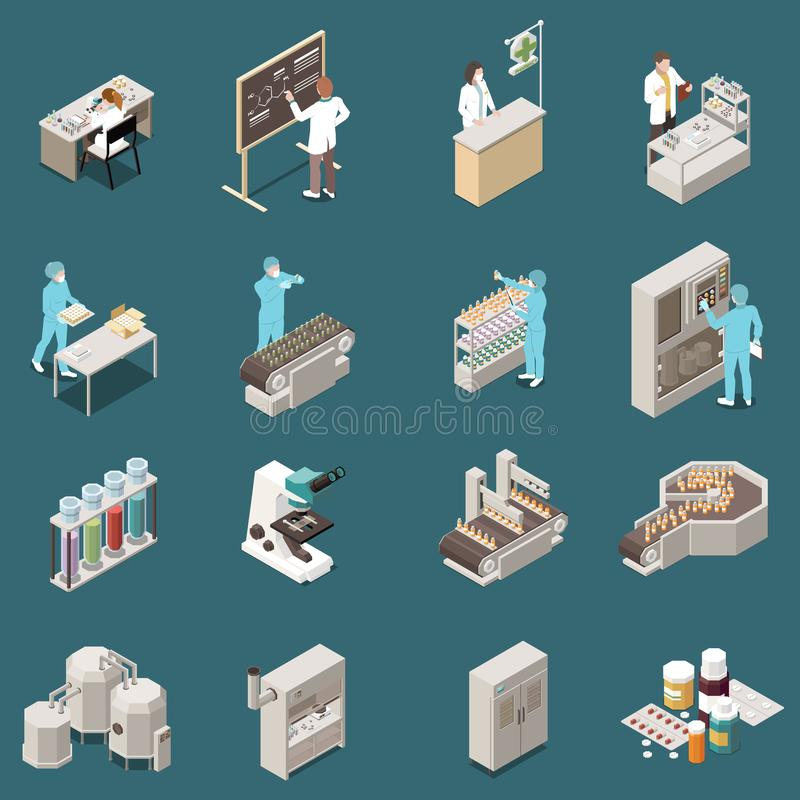Sistema isométrico del icono de la producción farmacéutica stock de ilustración