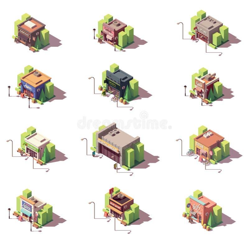 Sistema isométrico del icono de las tiendas del vector ilustración del vector